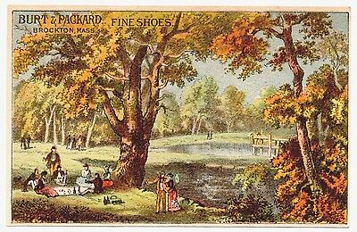 Burt & Packard Fine Shoes, Brockton, MA Antique Advertising Trade Card Picnic