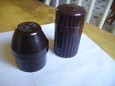 Vintage collectible bakelite travelling ink pots dating from 1930s-40s onwards.