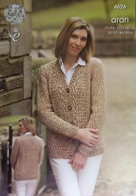 "King Cole Aran Knitting pattern Ladies jacket  Mens waistcoat 28"" - 46""   4626"