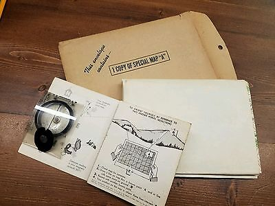 """Antique Military Trianing Map 1935 Special Map """"A"""" w/ Training Compass"""