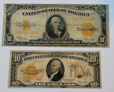 Two 1922 & 1928 $10 Ten Dollar GOLD CERTIFICATE Large Small size Note Currency