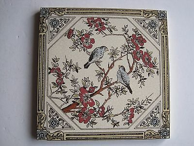 Victorian Style Wall Tile - Two Birds On Branches - Reproduction