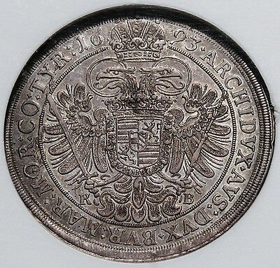 Hungary 1693 Leopold Hogmouth Broad Silver Thaler NGC AU55