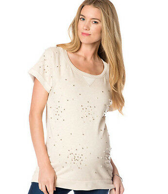 NWT $68 Design History Pea in the Pod Maternity Ivory SS Beaded Sweatshirt Top L