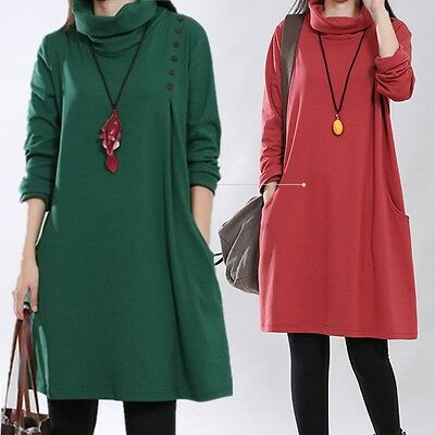 Fashion High Neck Soft Knitted Cotton Maternity Dress Autumn & Winter Clothes fo