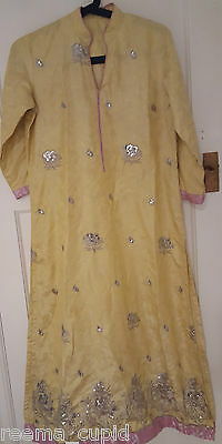 New Womens Embroidered sequence yellow Formal wear Indian Pakistani Asian Medium