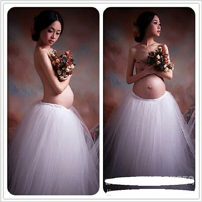 Maternity Pregnancy Elegant Fancy Gown White Lace Photography Props Royal Style