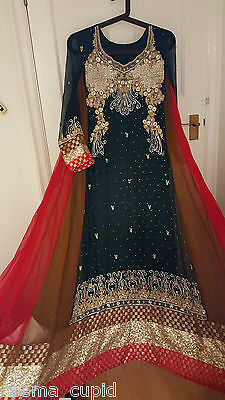 New Womens Dark Green Red Wedding Formal Indian Pakistani Asian Small Medium