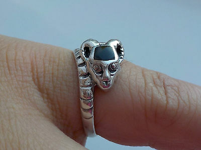 Silver Ram's Head  Ring With Onyx Metal Detecting Find