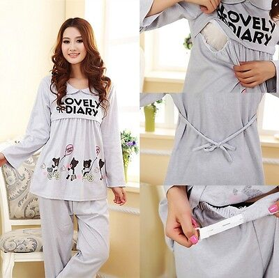 2PCS / Sets Cotton Maternity Lounge Pajamas Clothes for Pregnant Women Nursing T