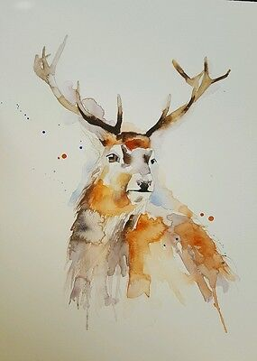 """ELLE SMITH ART. ORIGINAL RARE SIGNED LARGE WATERCOLOUR PAINTING.16x12"""" """"STAG"""""""
