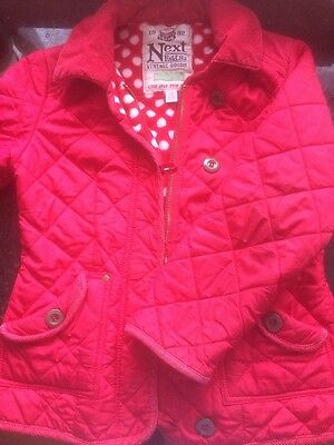 Red Quilted Jacket By Next Age 9/10 Yrs