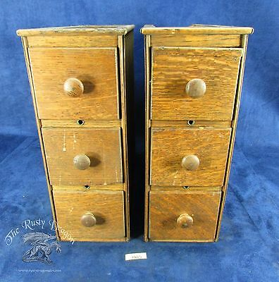 Singer Sewing Machine Cabinet Plain Drawer Bank Set Oak  (#3085)