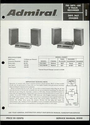 Rare Factory Admiral STC1551/1561M AM FM Stereo 8-Track Phono Service Manual