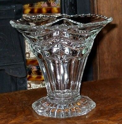 Lovely Victorian Clear Glass Trumpet Vase