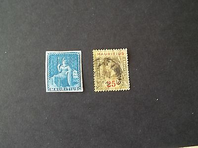 Mauritius Rare 2d blue never issued stamp,King George V used 25c COMBINES POST