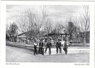 """+PC-Postcard-""""Residents Gather on Old Town Plaza"""" -1890- @ Albuquerque NM (A1-5)"""