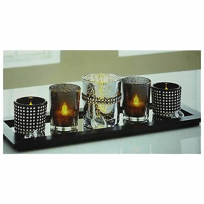 Secret Night Set With 5 Candle Holders & 1 x Wooden Tray Diamante Tea Light New