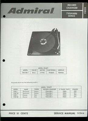 Rare Original Factory Admiral 750A1686-1 Turntable Phono Service Manual