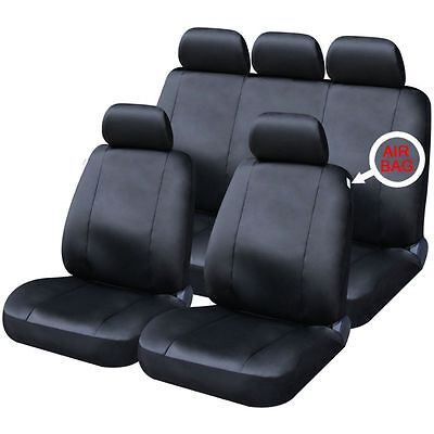 Stroud Premium  9Pce Front/Rear Full Set Black Leather Look Seat Covers Ford KA