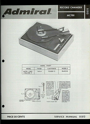 Rare Original Factory Admiral 750A1590-1 MC781Turntable Phono Service Manual