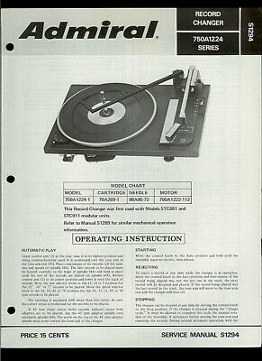 Rare Original Factory Admiral 750A1224-1 MC781Turntable Phono Service Manual