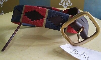 New Argentina Hand Made Leather Argentina Polo Belt Red/crm/blue Offer