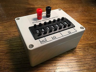 Seven decade resistance box 0.1% 0 ohm to 9.999999 Mohm resistor substitution