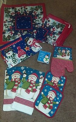Lot of 24 Coasters Christmas SnowMan & Napkins, Pot Holders, Towels, Tablecloth