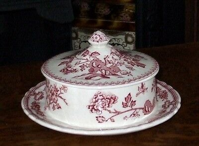 Masons 'Manchu' Pink Round Covered Serving Bowl with fixed Saucer