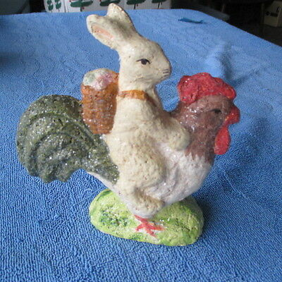 Teena Flanner Rabbit Easter Bunny on Rooster Figurine