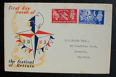 GB 1951 KGVI Festival of Britain Set on Illustrated FDC with Insert
