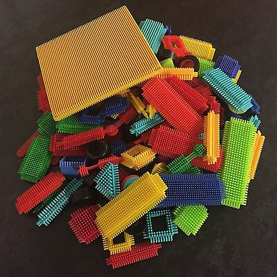 Large Bundle Mixed Sticklebricks 1.1kg+ 140+ Pieces Base board Wheels and Signs