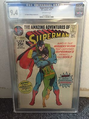 Superman #243 Cgc 9.4 Dc Comics Off-White Pages 1971 Neal Adams Cover