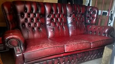 Vintage Oxblood Leather Button Wing Back 3 Seat Chesterfield Style Sofa Settee
