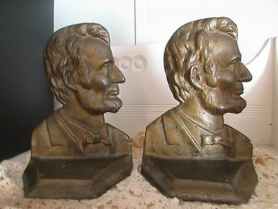 Antique Abraham Lincoln Bronzed Cast Iron Book Ends