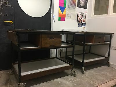 Two Vintage Industrial Trolley Tables
