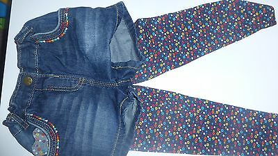 Girls Demin Shorts With Matching Floral Leggings 3-4 Years Used Once