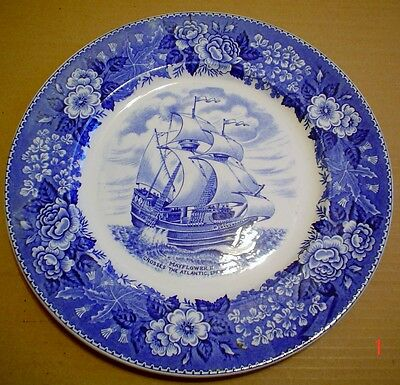 Adams Potteries England Blue And White 10 Inch Plate Ship MAYFLOWER II 1957