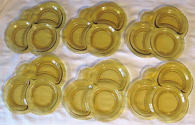 """1927 Vintage L.E. SMITH """"HOMESTEAD"""" AMBER GLASS SECTIONAL SNACK PLATES(6)"""