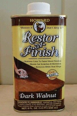 HOWARD RESTOR-A-FINISH ~ Dark Walnut Color ~ Wood Furniture Restorer 8 oz