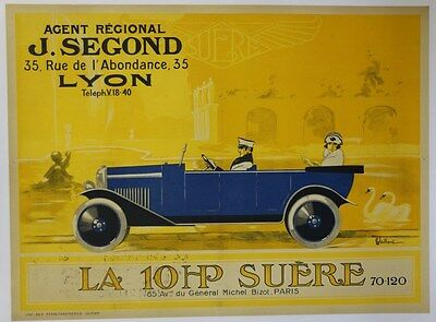 AFFICHE original poster automobile car SUERE PARIS LYON Segond VAILLANT 1930