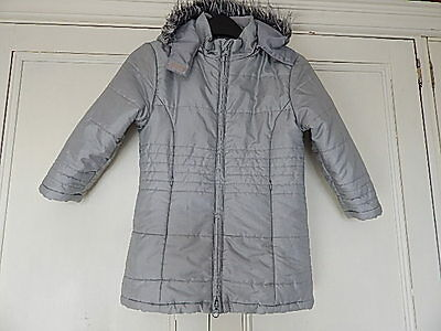 Tu Girls Silver Grey Quilted Coat With Fur Trimmed Hood 3-4 Years Machine Wash