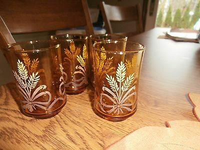 Libbey Amber With Wheat & Ribbon Design Juice Glasses Set Of 4