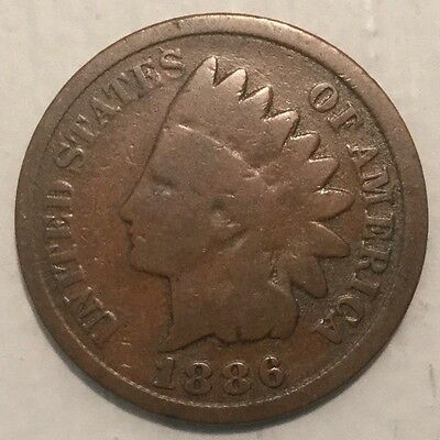 1886 1C Indian Head Cent Type 2 Feathers Point To CA