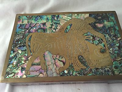 Inlaid Abalone And Brass Aztec Bull And Matado Wood Lined Box Taxco