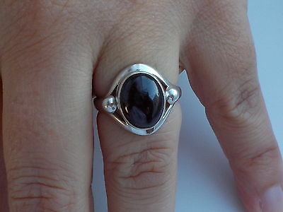 Silver And Cabochon Garnet Ring Metal Detecting Find