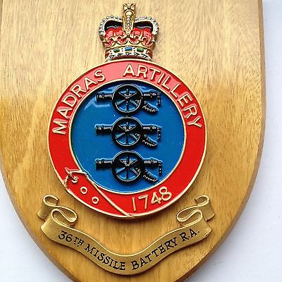 36th Missile Battery R.A./  Madras Artillery Badge Heraldic Shield