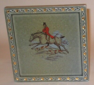 TEAPOT Stand TRIVET w/HORSE RIDER HUNTING DOGS Vintage WADE IRISH Porcelain