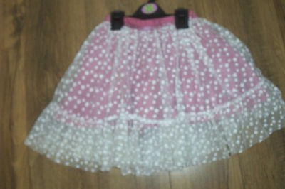 m&s girls pink skirt with cream net/lace overlay 2 /3 yrs